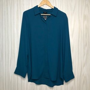 Mossimo Teal Sheer Long Sleeve Plus Size Blouse